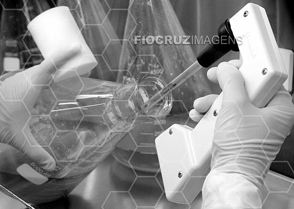 Manipulação de Erlenmeyer com pipetador automático portátil